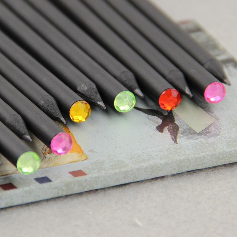 12Pcs/Set Pencil HB Diamond Color Pencil Stationery Items Drawing Supplies Cute Pencils For School Office Supplies