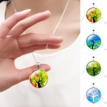 Tree Pendant Necklace Vintage Silver Color Chain