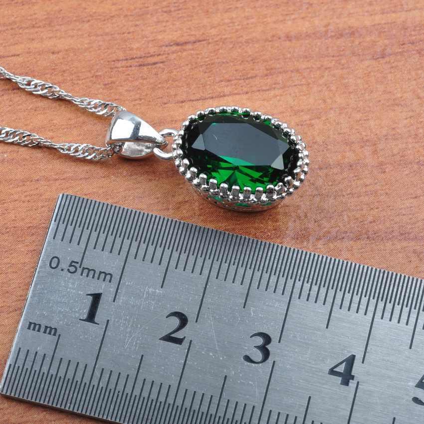 Grün Ei Kristall 925 Silber Braut Schmuck Sets Für Frauen Jahrestag Ohrringe Halskette Anhänger Ringe Armband Set JS0192