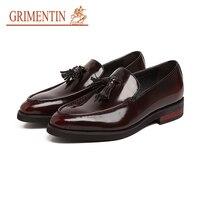 GRIMENTIN italian fashion men wedding shoes genuine leather black brown male shoes tassel slip on 2019 hot sale men shoes