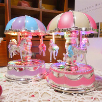 Creative Plastic Flash Light Merry-Go-Round Carousel Music Box   Home   Decoration   Accessories   Musical Boxes Vintage Gifts For Kids