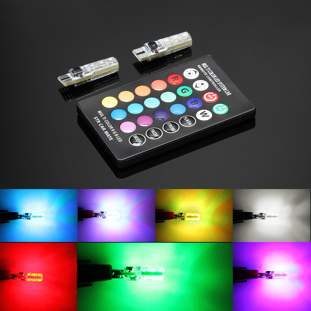 W5w LED Lights T10 RGB LED Bulbs With Remote Controller RGBW 501 194 168 6SMD 5050 Silicone Strobe Car Wedge Side Light 12V