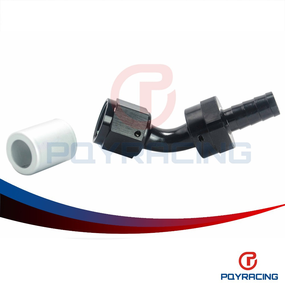 An8 8an an 8 45 degree reusable swivel ptfe hose end - Pqy Racing High Quality An8 45 Degree Swivel Crimp Bend Fitting With Barb End Black Pqy Sl6545 08