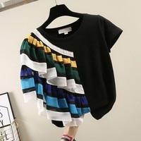 MUMUZI High Quality striped Ruffles T Shirt Women Cotton Elastic Basic T shirts Female Casual Tops Short Sleeve T shirt Women