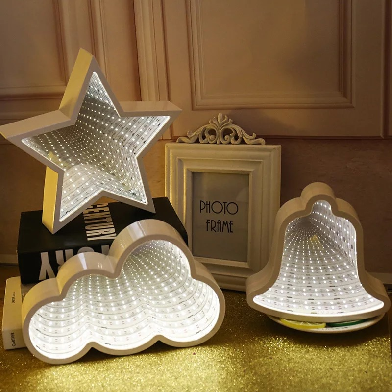 LED Space Time Mirror Tunnel Lamp Holiday Home Decor Night Light For  Bedroom Hear Christmas Tree Could Night Light
