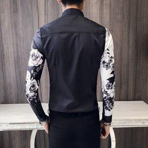 Image 5 - 품질 한국 턱시도 셔츠 남성 긴 소매 슬림 맞는 인쇄 남자의 사회 셔츠 캐주얼 나이트 클럽 가수 무대 의상 블라우스 3xl