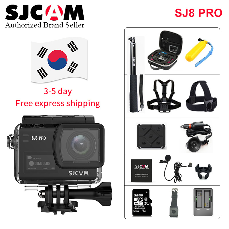 2019! SJCAM SJ8 Pro 1290 P 4 K 60fps WiFi télécommande Anti-secousse double écran tactile casque sport DV Action caméra plus d'accessoires