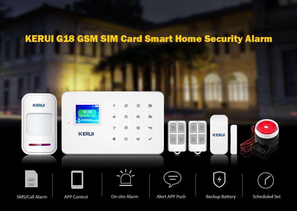 KERUI G18 Wireless Home GSM Security Alarm System DIY Kit APP Control With Auto Dial Motion Detector Sensor Burglar Alarm System 9