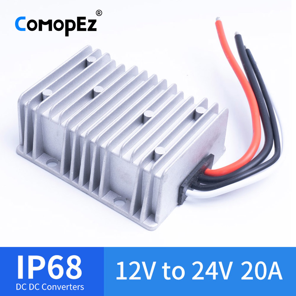 12V TO 24V 20A DC DC Voltage Converter Waterproof IP68 CE Certificated 12VDC to 24VDC 20AMP 12V 24V Boost Converter12V TO 24V 20A DC DC Voltage Converter Waterproof IP68 CE Certificated 12VDC to 24VDC 20AMP 12V 24V Boost Converter