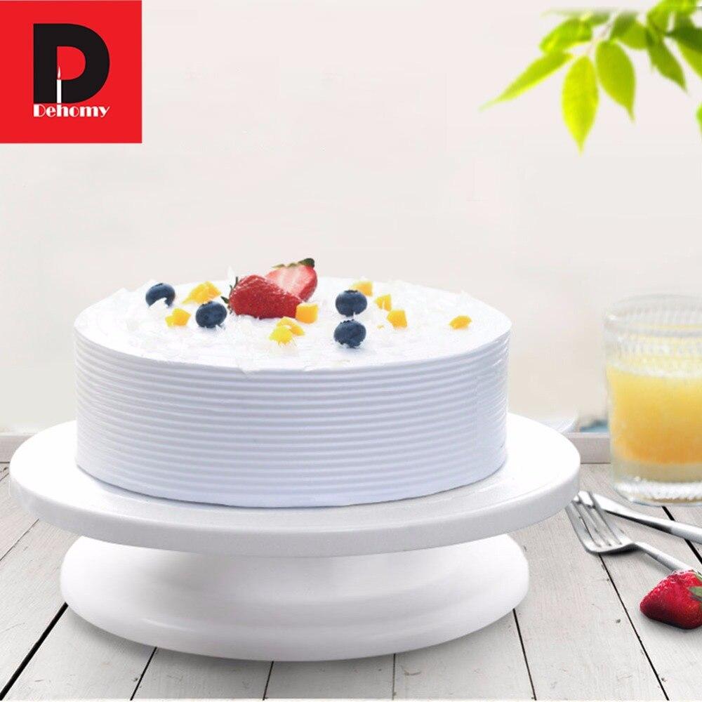 Dehomy 1 Stks Revolving Cake Stand Keuken Taart Plaat Revolving Decoratie Stand Platform Draaitafel Ronde Roterende Cake Swivel