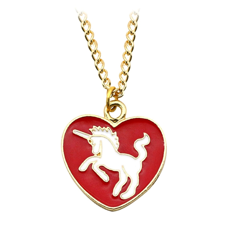 Drop Shipping Horse Choker Gold Pendant Cartoon Rainbow Necklace Love Heart DIY Cute Horse Chain Childhood