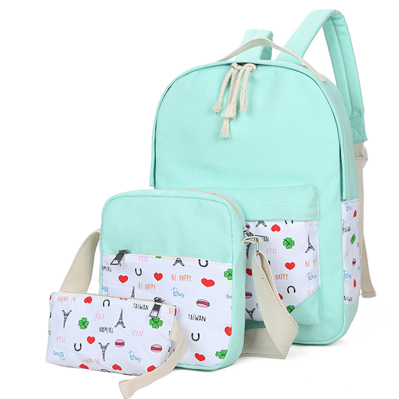 3pcs Lot High Quality Durable Canvas Backpack Fashion Casual Girl s Backpack Character Preppy Style Backpack