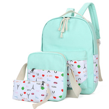 3 шт./лот Высокое качество Прочный Холст Рюкзак Мода Повседневное девушки рюкзак характер элегантный дизайн рюкзак с сумка