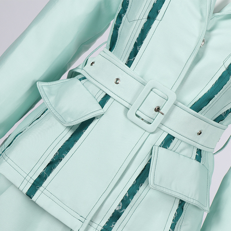 Spring Star Qiao Xin's Similar Women's Wear Light Green Flipped Collar Long Sleeve Coat Belt 2019 Womens Jackets And Coats
