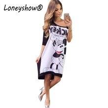008e777deb Loneyshow Mulheres 2018 Meia Manga Mickey Vestido Estampado Ocasional  O-pescoço de Impressão Dos Desenhos