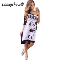 Autumn Print Dress Women 2016 Half Sleeve Mickey Print Off The Shoulder Slash Neck Loose Dress