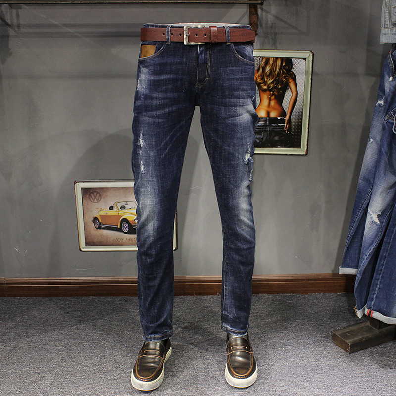 ФОТО 2017 Spring New Fashion Mens Stretch Denim Slim Straight Boot Cut Darked wash jeans Distressed Jeans Ripped Hole 60701