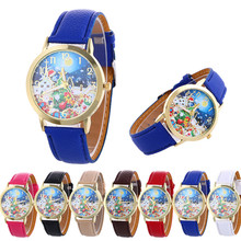 Women's Watch Quartz Christmas Pattern Gift Leather Strap Wrist Watch For Children Kids Relojes Relogio wholesale Free shipping8