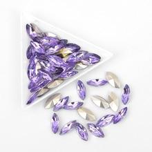 20PC Rhinestones For Nails Light Purple AB Crystal Opal diamond Strass  Marquise Hotfix Flatback glass gems e6140fbceb72