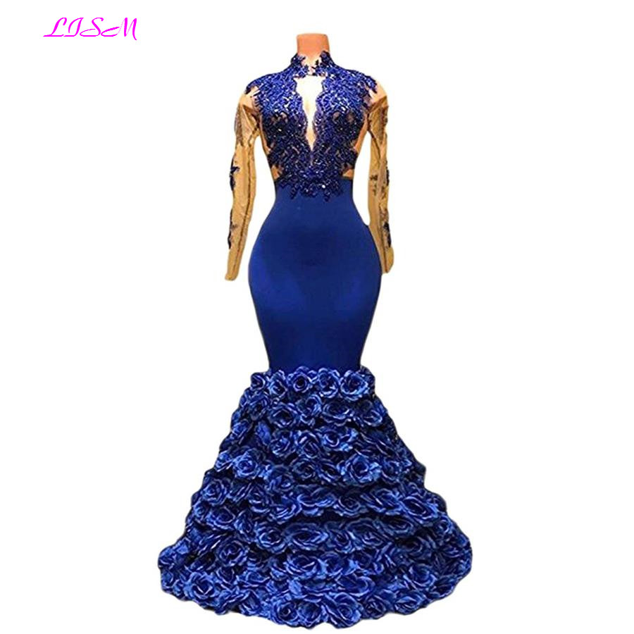 New Arrival Mermaid Rose   Evening     Dresses   Long Sheer Sleeves Party Gowns Sexy Backless Floor Length Formal   Dress   women elegant