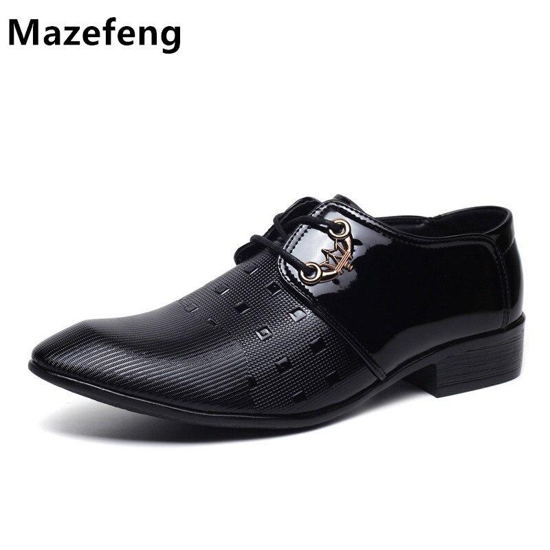 d2e0b3c42 Mazefeng 2018 Primavera Sapatos Masculinos De Couro Tendência Padrão  Winklepickers toe Ponto de Assuntos de Negócios Dos Homens Vestido Sapatos  Calçados ...