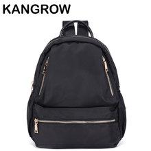 Kangrow Для женщин Рюкзаки черный нейлон Для женщин Сумки модные Повседневное Daypacks Твердые назад Сумки для девочек