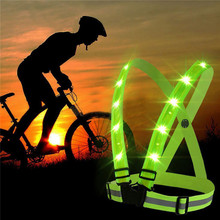 2017 New arrival durable quality fluorescent green USB charging LED straps reflective