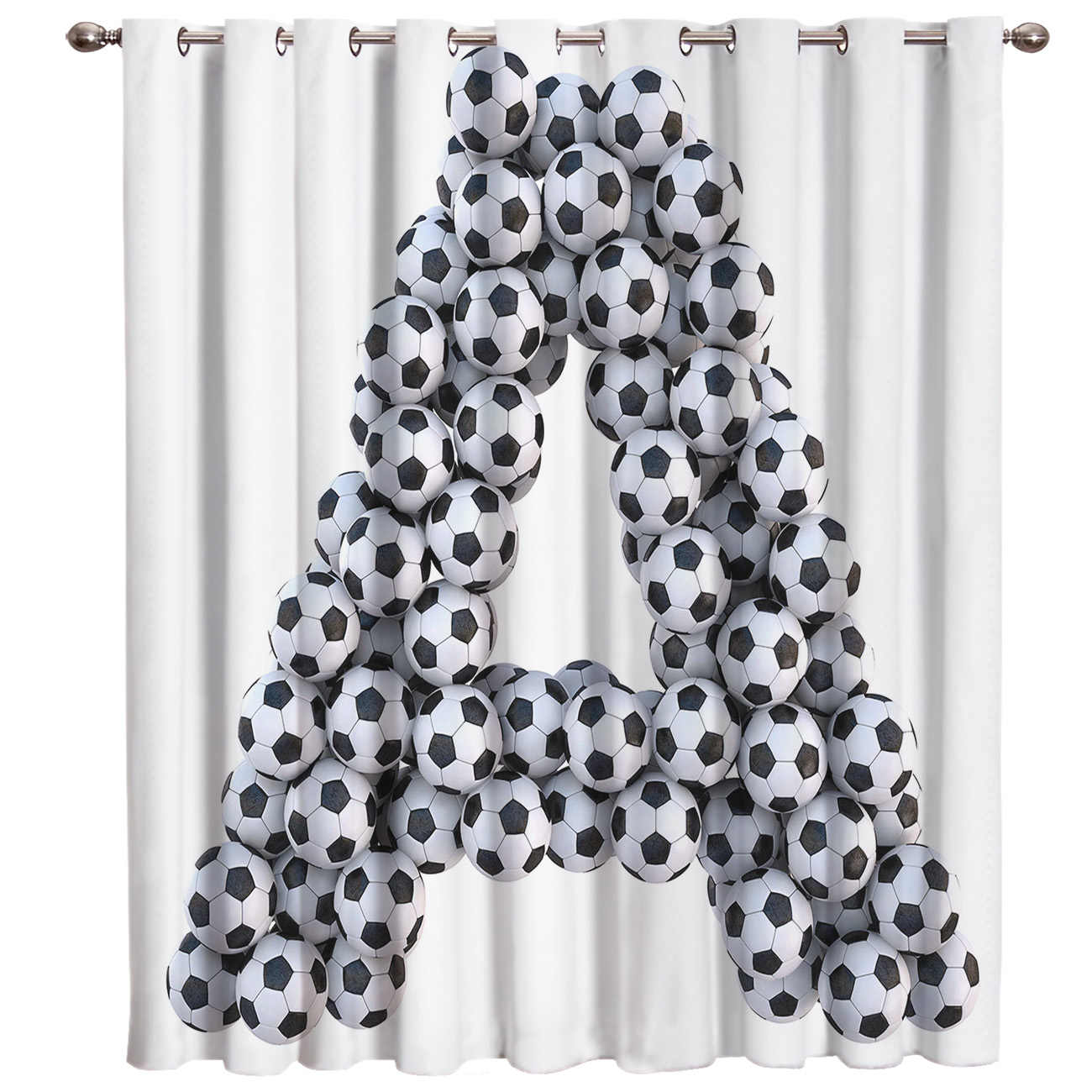 Letter A Shape Soccer Football Text Window Treatments Curtains Valance Room Curtains Large Window Bathroom Kitchen Bedroom Decor