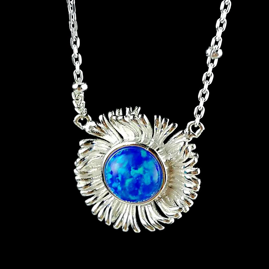 a2fae0bb994c 925 Natural Mystic Fuego Azul ópalo COLLAR COLGANTE Cadena de girasol  diseño Original collar gargantilla Collar para las mujeres