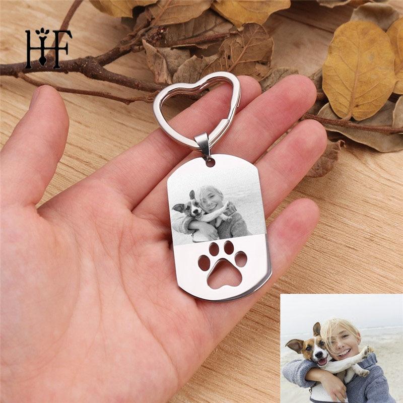 2019 Custom DIY Dog Tag Photo Keychain Stainless Steel Engraved Photograph Keychain For Love Dog People Dog Keepsake Chaveiro