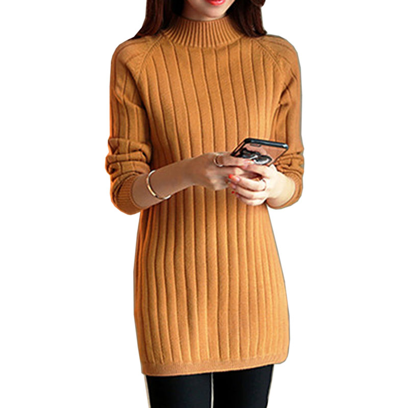 2018 Autumn winter Turtleneck sweaters women's long-sleeve pullover sweater female loose sweater long design basic outerwear top