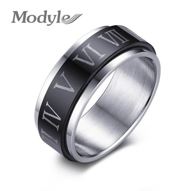 Modyle 2017 Punk Black Spinner Roman Numerals Stainless Steel Rotatable Men's Rings