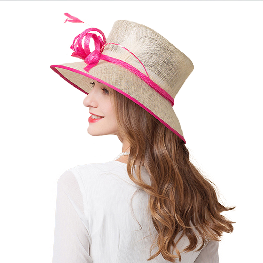 02a57271b4c 2018 Lady Wide Brim Sinamay Kentucky Derby Summer Hat For Women Linen Flat  Top Hats Elegant Flower With Pearl White Church-in Fedoras from Apparel ...