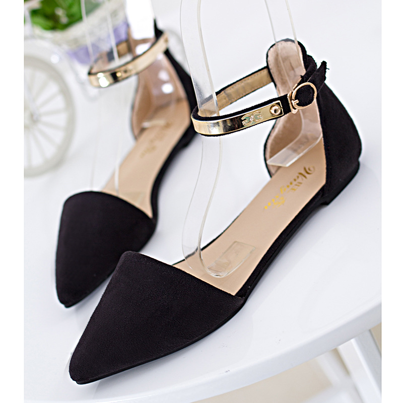 NIS Women Moccasins Flat Shoes, Black/Red/Blue Metal Ankle Strap Ballerina Flats, Ladies Buckle Pointed Toe Two Pieces Sandals women flat sandals fashion ladies pointed toe flats shoes womens high quality ankle strap shoes leisure shoes size 34 43 pa00290
