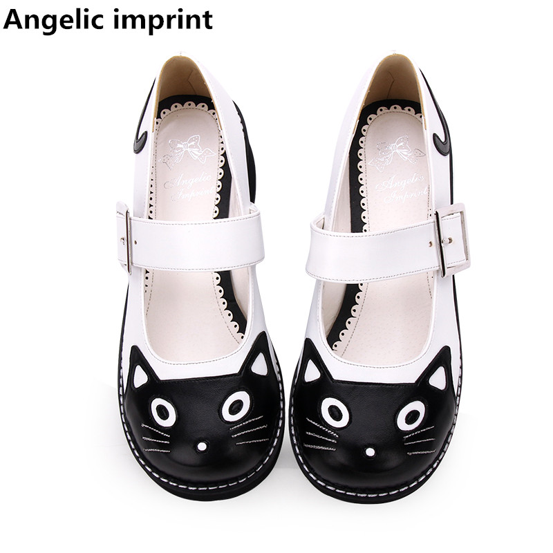 Angelic imprint woman mori girl lolita cosplay shoes lady mid heels wedges pumps women princess dress