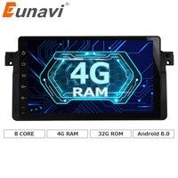 Eunavi 9 ''4G RAM 1 din Android 8.0 Octa Núcleo de rádio Do Carro para BMW E46 318 320 Rádio Do Carro DAB M3 série 3 com WI-FI Bluetooth DAB +