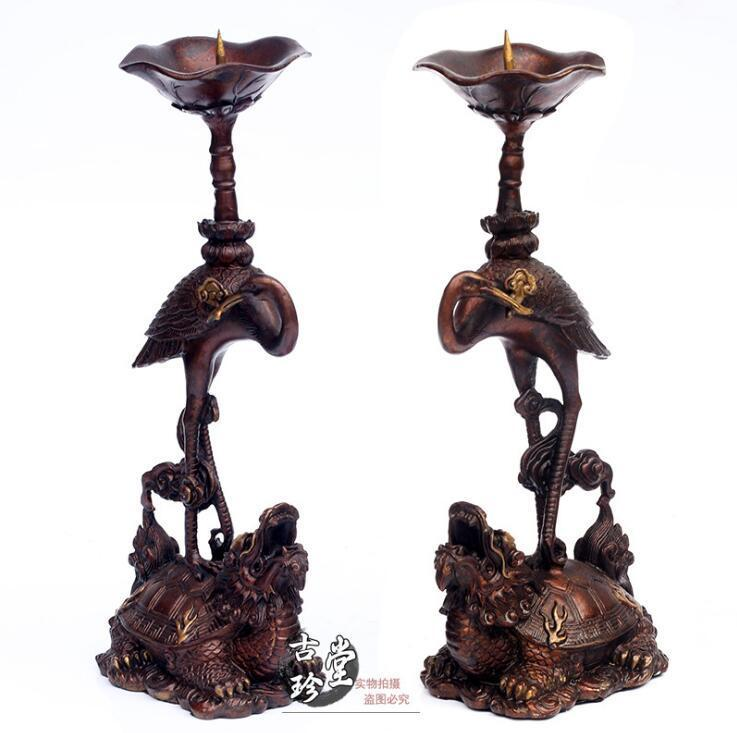 China Pure Bronze Copper Red Crowned Crane Dragon turtle Candlestick pairChina Pure Bronze Copper Red Crowned Crane Dragon turtle Candlestick pair