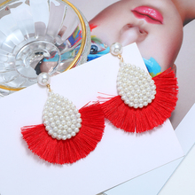 WNGMNGL Fashion Women Tassel Earrings 2019 Brincos 7 Colors Statement Red Big Circle Round Vintage Dangle Earring Jewelry Gift