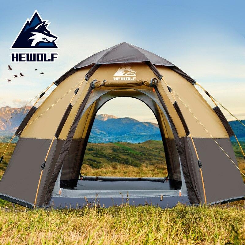 Hewolf Rapide Automatique Tente Ouverte 3-8 Personne Double Couche Grand Camping Famille Loisirs de Plein Air Tentes de réception Auvent Plage tente