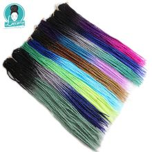 Luxury For Braiding Ombre Senegalese Twist Hair Crochet braids 24 Roots/pack 5packs/lot Synthetic Green Pink Grey