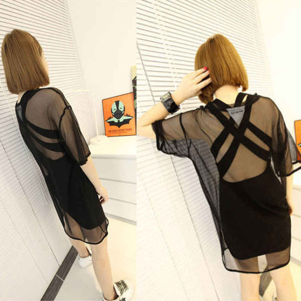 ホット女性シアーメッシュ視点半袖 Tシャツルーズ Tシャツトップス