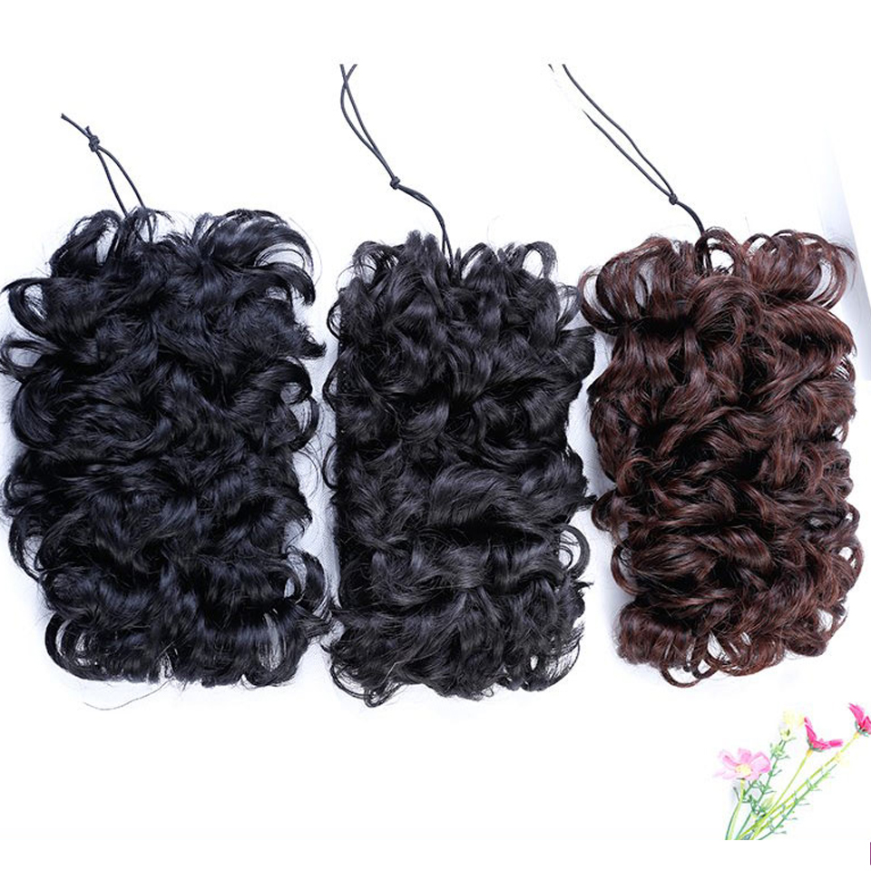 DIFEI Womens Elastic Net Curly Chignon With Curly Synthetic Hair Bun Extensions Updo Cli ...