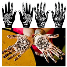 1 Pair Black Henna Mehndi Flower Waterproof Tattoo Sexy Women Girl Body Hands Art Temporary Tattoo Paint Design Sticker Stencils