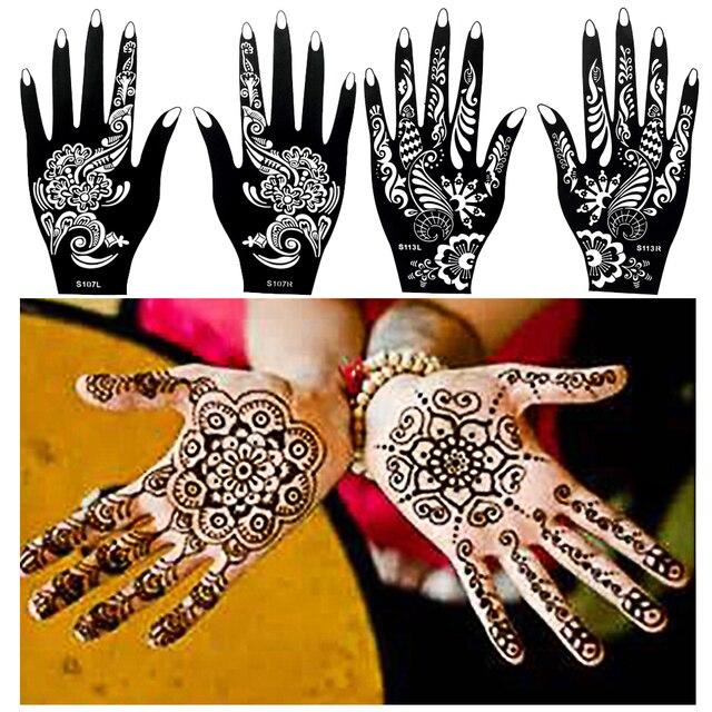 1 Pair Black Henna Mehndi Flower Waterproof Tattoo Sexy Women Girl