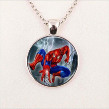 Wholesale Hot Glass Dome Jewelry Spiderman Necklace Superhero Pendant Glass Dome Pendant HZ1
