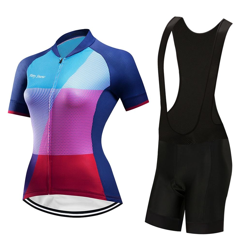 New Womens Bicycle Jersey Bib Shorts GEL Pad Road Track Race Cut Aero Bike Jerseys Suit MTB Cycling Set Italian Wear Clothing