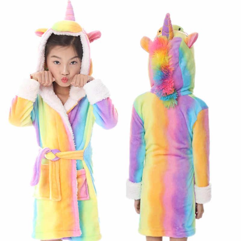 1868fac0f ... PSEEWE Baby Animal Bathrobe For Boys And Girls Flannel Hooded Unicorn  Towel Beach Kids Sleepwear Autumn ...