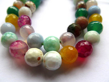 10mm 5strands fire agate bead round ball faceted carmine pink red blue green mixed jewelry beads