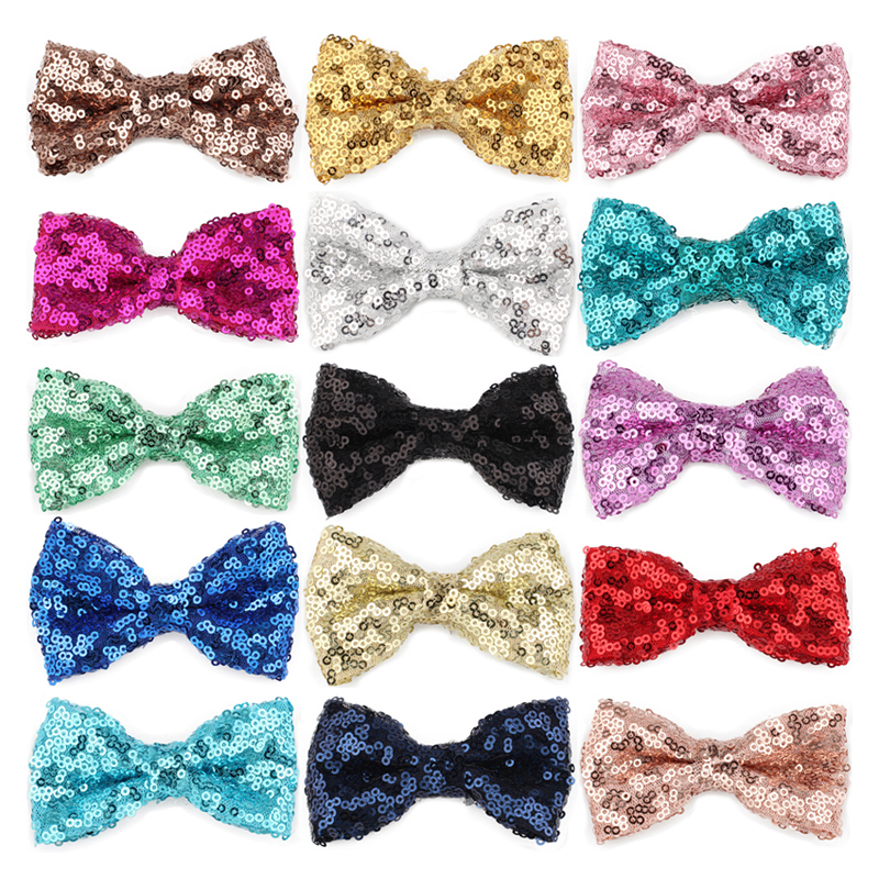 10pcs/lot 15colors 9cm Newborn Sequins Hair Bows Hair Solid Flower Bowknot with Paillettes for Artificial & Dried Flowers