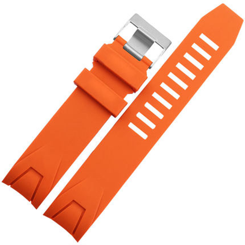 Image 4 - MERJUST 20mm 22mm Orange Black Rubber Strap Waterproof Diving Curved End Watchband for Omega Seamaster Planet Ocean Speedmaster-in Watchbands from Watches